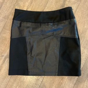 BCBG Black Leather Mini Skirt